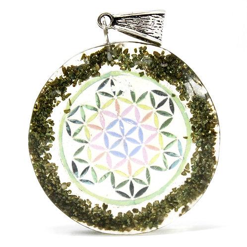 Orgonite Power Pendant - Greenstone Mandala - w/faux leather/925 silver chain