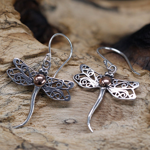 Silver & Gold Earring - Dragonflies