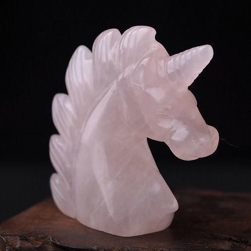 Hand Carved Rose Quartz Unicorn - 55mm