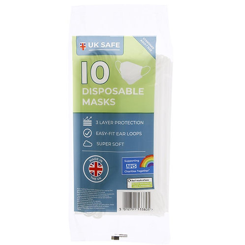 UK Safe 10 Disposable Masks (Made in the UK)