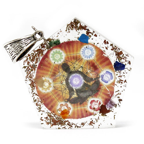 Orgonite Power Pendant - Pentagon Chakra - w/faux leather/925 silver chain