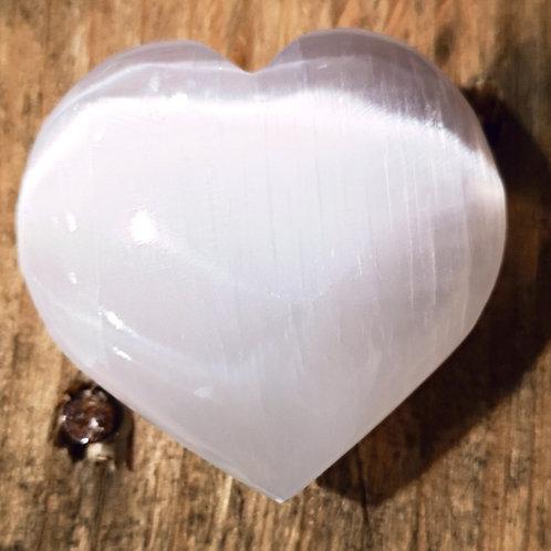 LARGE PUFFED Selenite Heart - 6 X 2.5 X 5.5cm