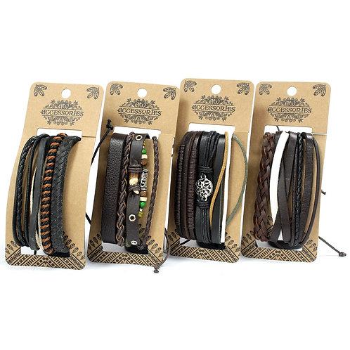 Mens Bracelet Sets - Dark & Handsome (4 x Pack)
