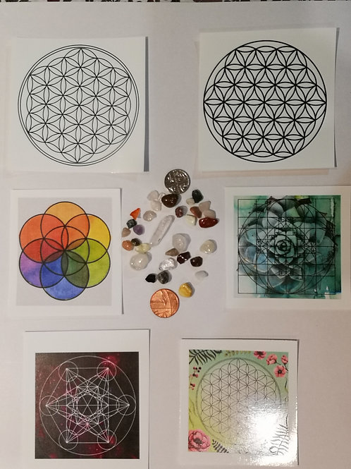 NEW Unique Small Room Travel Crystal Grid Pack. 6 x Grids and Crystal Chip Pack