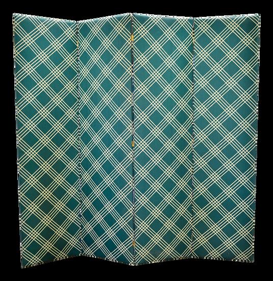 Plaid Fabric Folding Screen