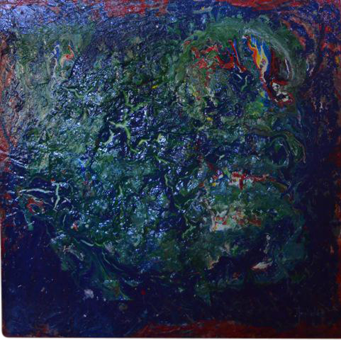 Blue Abstract Expressionist Textural Painting