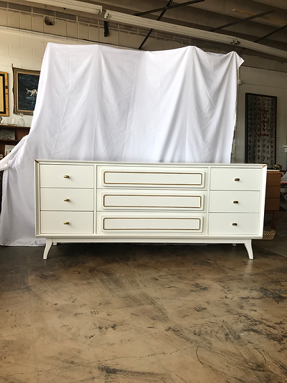 1960s Stanley Young Mid Century Modern White Lowboy