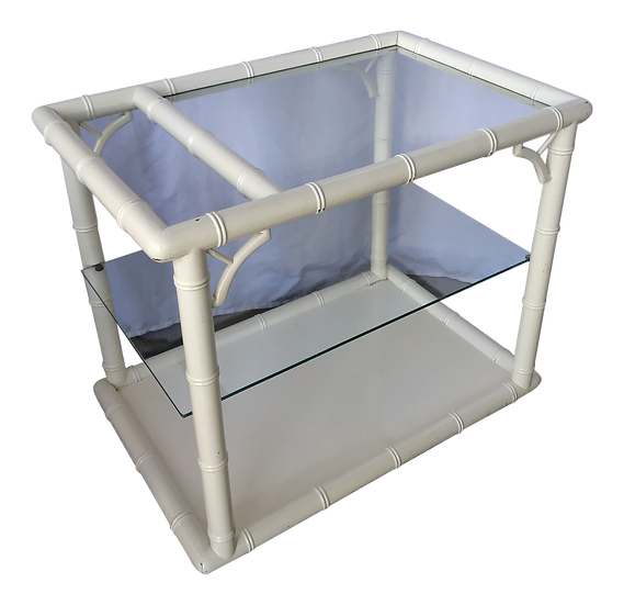 1980s Bamboo-Style White Lacquer Bar Cart/ Trolley