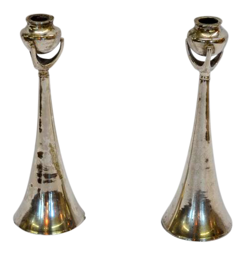 Silver Modern Deco Candlesticks - a Pair
