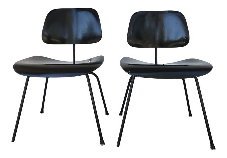 1950s Eames Ebony Plywood Dcm Side Chair - a Pair