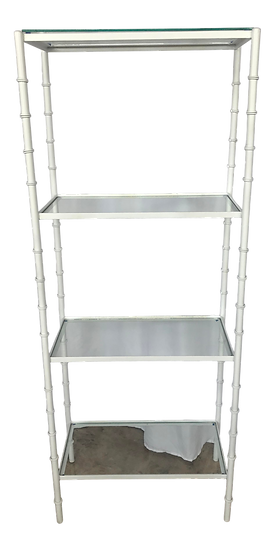 1960s Hollywood Regency White Faux Bamboo Metal Etagere Shelf