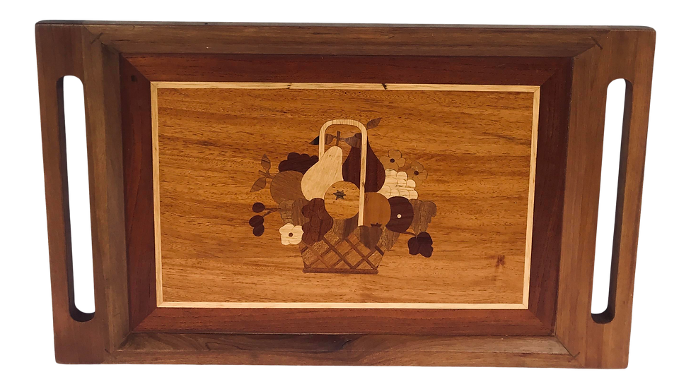 1950s Inlaid Wood Marquetry Design Tray