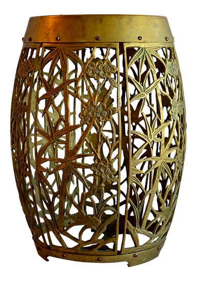 Brass Bamboo Drum Side Table Stool