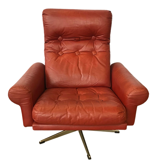 1960s Mid Century Modern Red Leather Swivel Chair