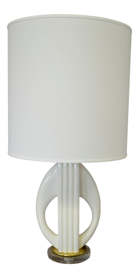 White Porcelain & Lucite Lamp