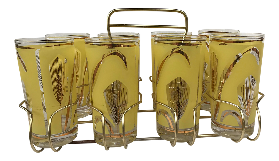 Vintage Highball Yellow & Gold Glasses in Brass Cart by Fred Press - Set of 9