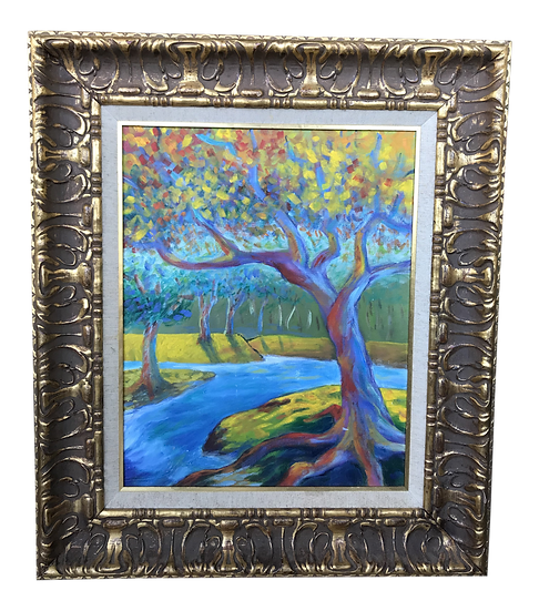 Mid 20th Century Modern Impressionist Style Landscape Oil Painting, Framed