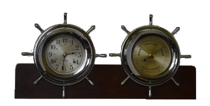 Seth Thomas Nautical Ship Wheel Clock and Barometer