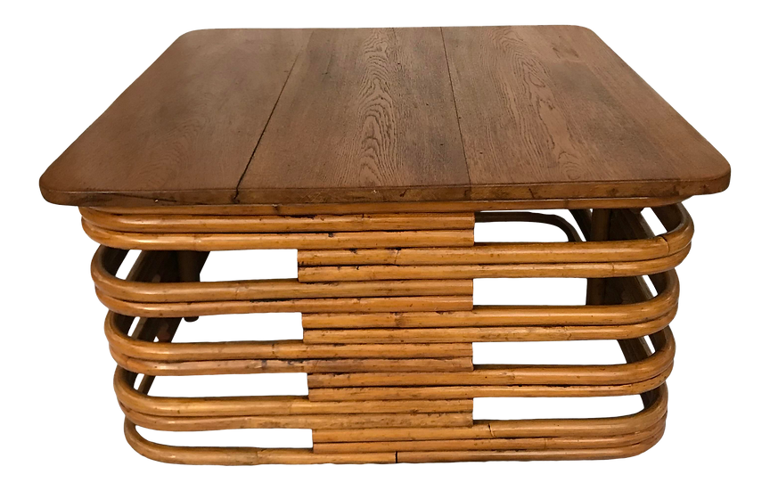 1950s Mid-Century Modern Paul Frankl Manner Rattan Coffee Table