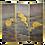 Thumbnail: Yellow Long- Neck Birds Suede 3 Panel Folding Screen