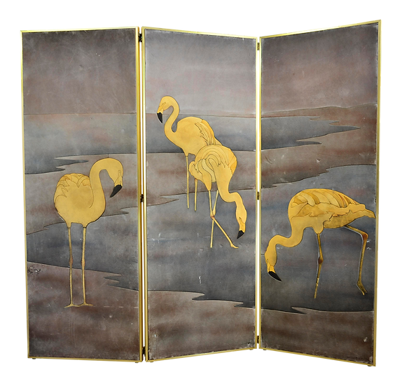 Yellow Long- Neck Birds Suede 3 Panel Folding Screen
