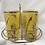 Thumbnail: Vintage Highball Yellow & Gold Glasses in Brass Cart by Fred Press - Set of 9