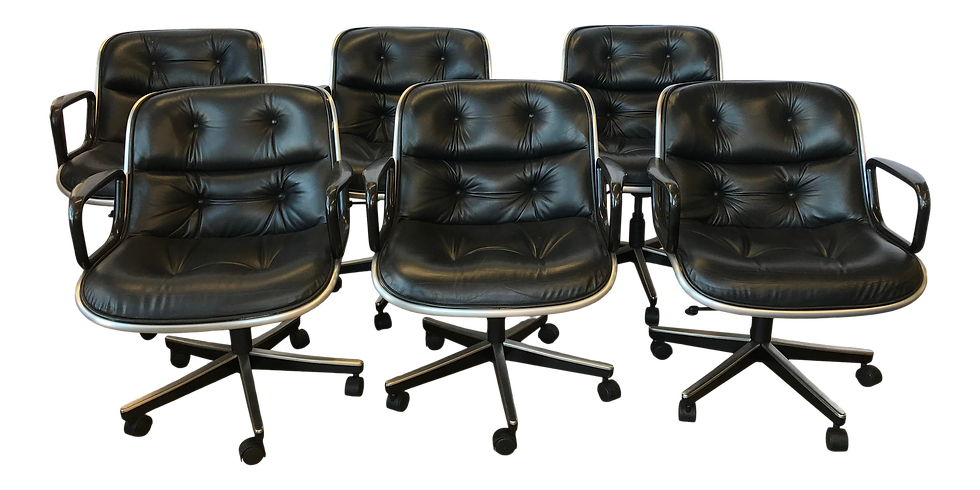 1980s Knoll Black Leather Executive Pollack Desk Chairs - Set of 6