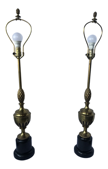 1950s Brass With Center Pineapple Lamps - a Pair