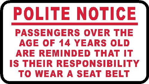 S84 - Over 14 Wear A Seatbelt