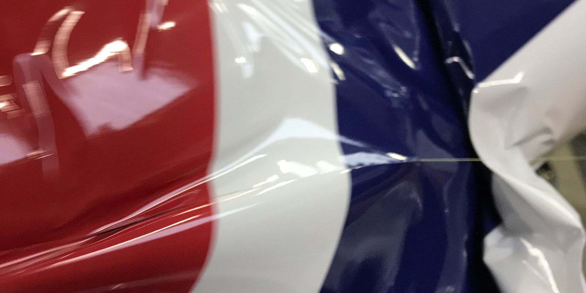 Gloss union jack roof wrap designed and made by us in house