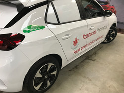 Window block outs and company livery graphics