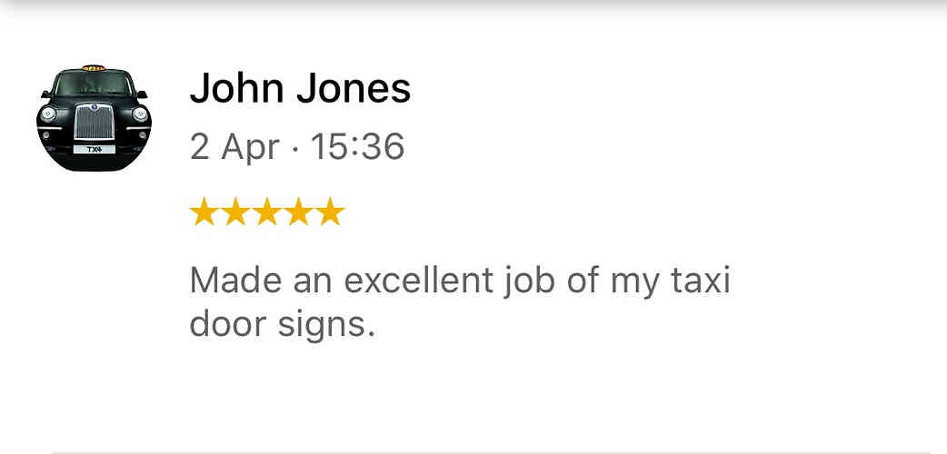 Taxi Sign Customer review