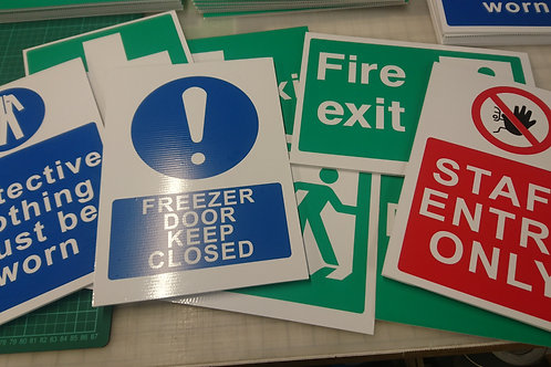 Warning Signs Printed 4mm thick correx fluted board