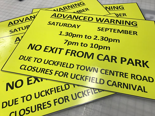 Correx 4mm Fluted Sign Boards (Printed) Size 600mm x 900mm