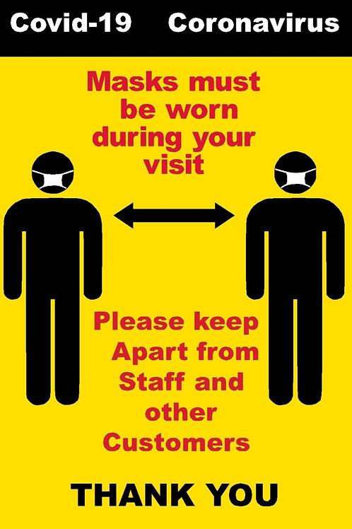 Masks must be worn Keep Apart Sticker A4