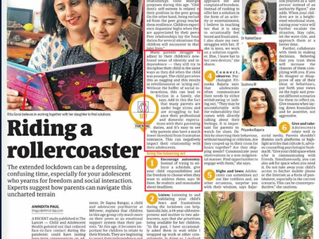 Quoted in Mid-day on Parenting tips to help adolescents cope with the current changes.
