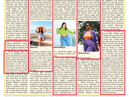 Body Image and Social Media- Quoted in Newsband.in