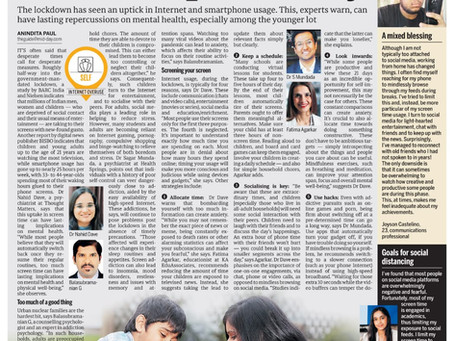 Balancing Internet Usage and Social Isolation- Quoted in Mid-Day