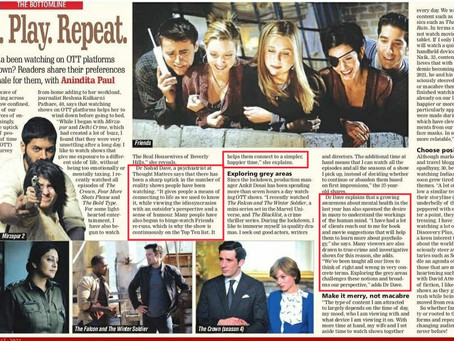 Lockdown and its impact on viewing patterns on OTT -Quoted in The Free Press Journal