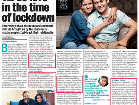 Quoted in Mumbai Mirror on how the lockdown has affected relationships and weddings