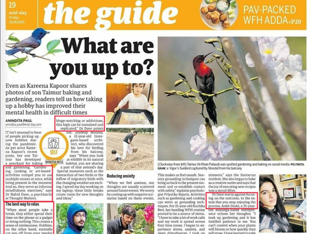 Hobbies- A psychological perspective (Quoted in Mid-day)