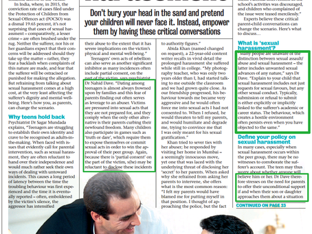 How to talk to your teen about sexual harassment- Quoted in MumbaiMirror