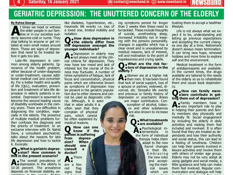 Depression in Elderly -Interview with Newsband.in