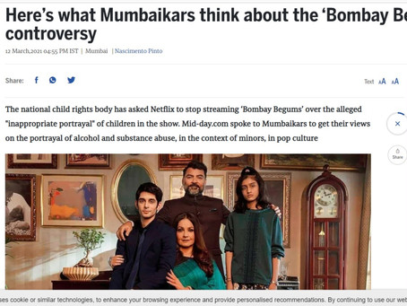 Quoted in Midday on the 'Bombay Begums' issue on Netflix