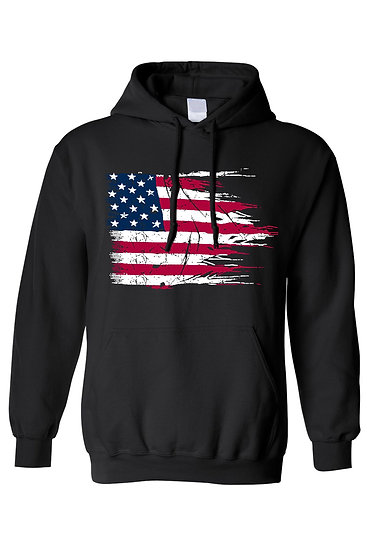Unisex Pullover Hoodie Battle Ripped USA Flag  Pride