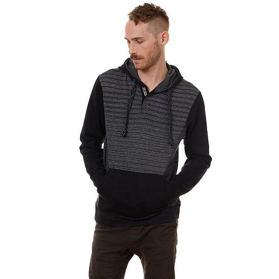 Black/Gray Ribbed Half Zip Hoodie