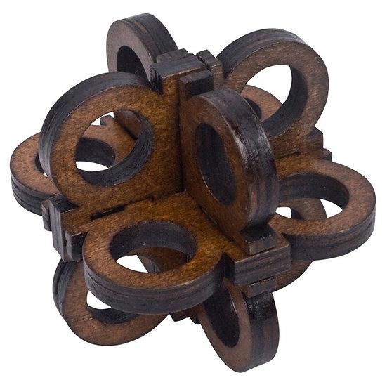 3D Wooden Lock Puzzle. Brain Teaser
