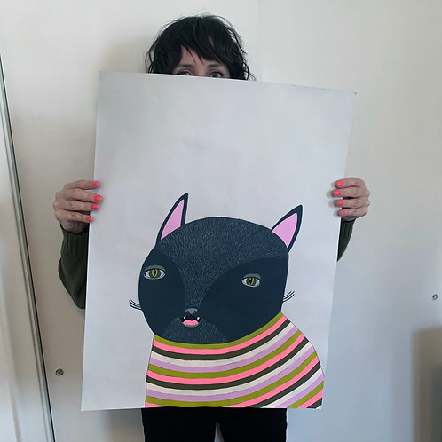 """""""Black Cat In Striped Sweater"""" Original Painting on Paper"""