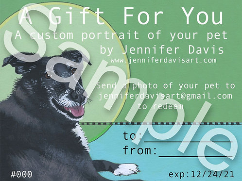 GIFT CERTIFICATE - Custom Pet Portrait