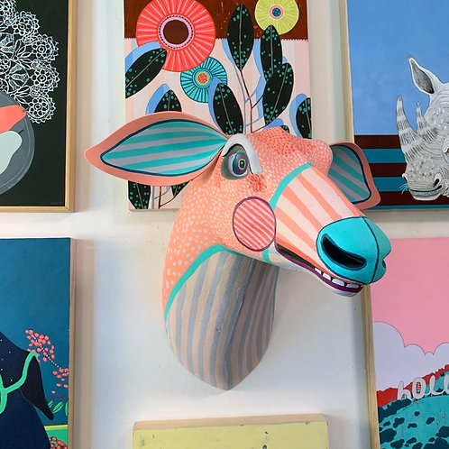 """""""Pink Deer"""" Hand-Painted Vintage Wall Hanging"""